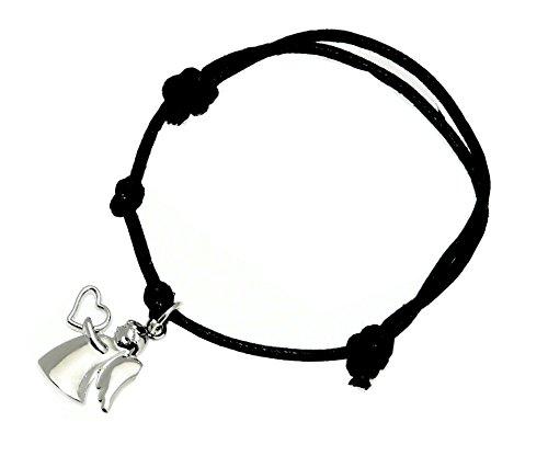 Braccialetto cavo nero con il colore argento custode angelo fascino - regolabile