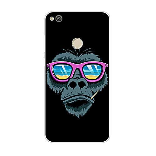 Aksuo for Huawei P8 Lite 2017 Hülle Silikon, TPU Silikonhülle Handyhülle Kratzfest Durchsichtige Stylisch Muster Design Robust Leicht Case - Strand in Affen Kopf Brille