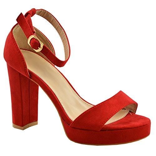 ee854edb5ce Cucu Fashion Womens Ladies Platform High Block Heel Strappy Sandals Ankle  Strap Shoes Size UK - Buy Online in Oman.