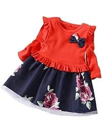 Vestidos niña,❤ Modaworld Vestido de Estampado de Flores Florales de Manga Larga para bebés niña Vestido de Princesa de Fiesta 6 Mes - 5…