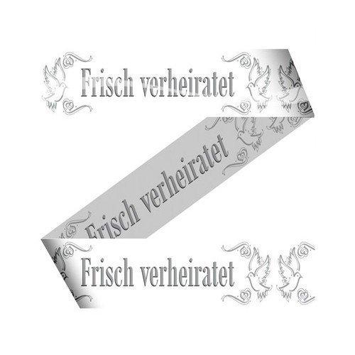 Absperrband Warnband 15 m Weiß Frisch verheiratet Hochzeit Wedding Deko Girlande