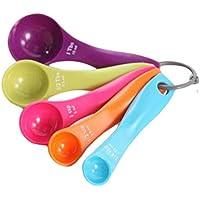 Mengonee 5 Piezas de plástico de medición de cucharas Contiene cucharaditas cucharadas Mixtos Herramientas de Color