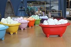 Ceramic Bath Filled with Mini Bath Bombs (Chill Pills) - White Bath Full of Baby Powder Pills