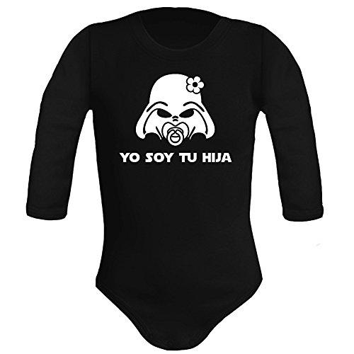 Body bebé unisex Yo soy tu hija (Star wars/Darth Vader - Yo soy tu padre - parodia). Regalo original. Body bebé divertido. Manga larga. (Negro, 3 meses)