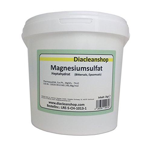 Magnesiumsulfat 1kg - Bittersalz - Epsom Salz - Epsomit - in Pharmaqualität (reiner als Lebensmittelqualität) – Magnesiumbäder