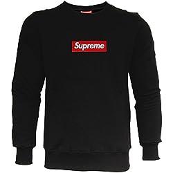 Supreme Sudadera Italia Hombre Patch Logo sufe 1103Blanco Dope Skate Streetwear Mode Negro-Rojo L