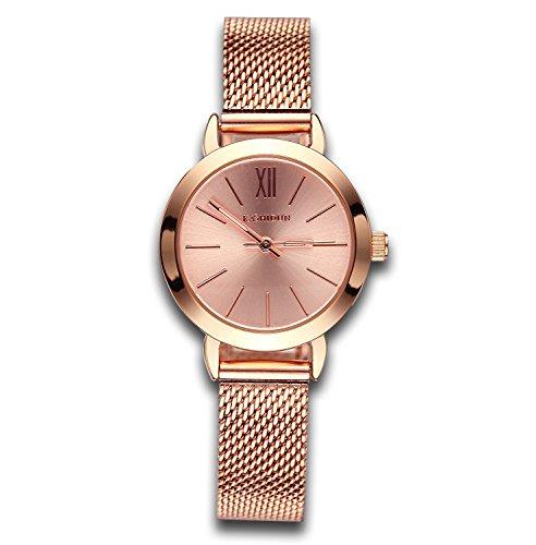 Foto de Relojes para mujer Rose Golden Luxury Reloj de cuarzo informal Lady Simple Design Classic Fashion Business Vestido de pulsera para mujer con malla pequeña Dial Aleación de acero Pulsera
