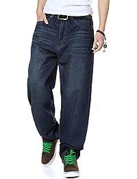 ZX Pantalones Anchos para Hombres De Gran TamañO Pantalones Anchos para Hombres  Pantalones Vaqueros Rectos Piernas 48821301ce2