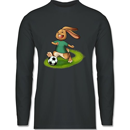 Fußball - Fußball Hase - Longsleeve / langärmeliges T-Shirt für Herren Anthrazit