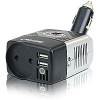 BESTEK Spannungswandler Mini Wechselrichter DC 12V auf AC 230V mit USB, Zigarettenanzünder, EU
