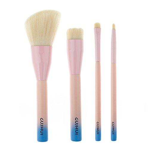 4pcs Maquillage Pinceaux à Lèvres Poudre Fondation Tête en Laine Rose