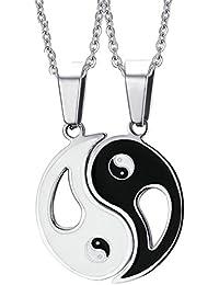 Daesar 2 Stücke Für Sie und Ihn Paare Kette Edelstahl Tai Chi Ying Yang Anhänger Halskette Silber schwarz Pärchen Halsketten 50CM