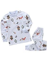 Hongxin Manga Larga Pyjama Sets Conjuntos de Pijama para Niñas Niño Pijama con Estampado de algodón de Ajuste cómodo de 2 Piezas 120cm-150cm