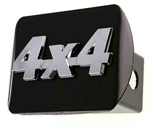 4x4 3d Chrome Emblem on Black Trailer Metal Hitch Cover Fits 2 Receivers New by HitchCover - Hitch Cover Receiver