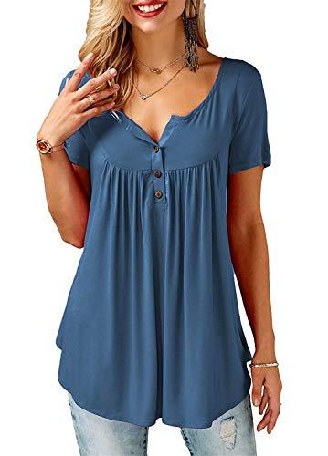 KISSMODA Womens Plus Size Kurzarm lose T-Shirts Tops Bluse Marineblau XXLarge -