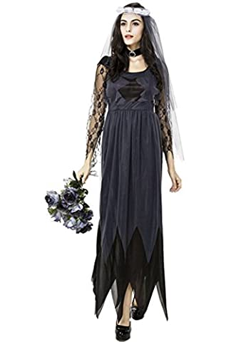 Schwarzes Zombie Brautkleid Gotic,Honeystore 2017 Halloween Kostüm Cosplay Karneval Party