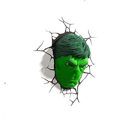 Lámpara de Pared 3D, Avengers Hulk Mask 3D luz de la Noche de la Noche Milagro Serie lámpara de Pared...