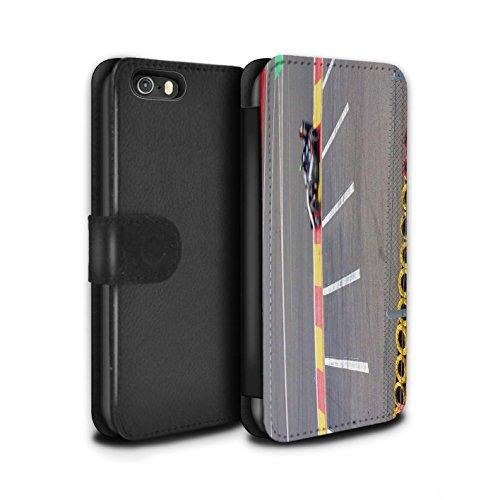 Stuff4 Coque/Etui/Housse Cuir PU Case/Cover pour Apple iPhone SE / Asphalte/Macadam Design / Piste Course Photo Collection Voiture Course