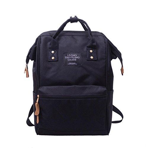 UFACE Einfarbiger Rucksack Unisex Solide Schule Reisetasche Doppel UmhäNgetasche ReißVerschlusstasche (Schwarz)