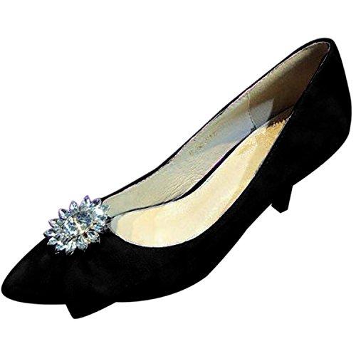 Oasap Women's Pointed Slip-on High Stiletto Rhinestone Bow Pumps Black