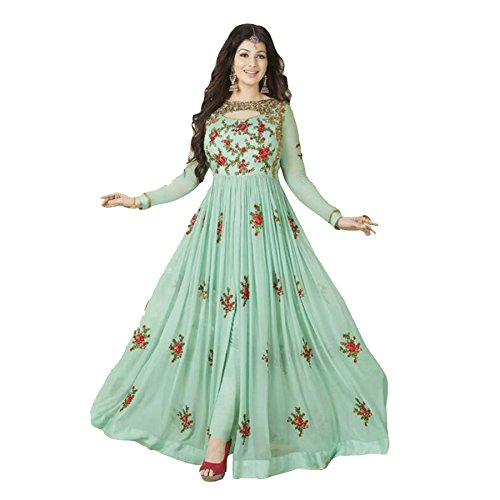 Ethnic Empire Women\'s Georgette Anarkali Salwar Suit Set (Eed-Ea10215_Green_Free Size)
