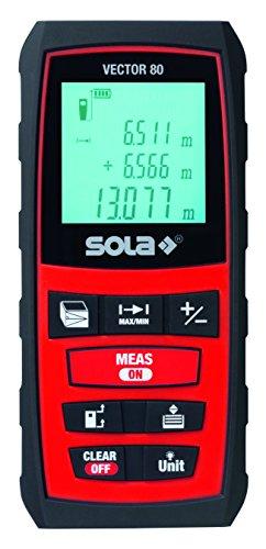"""Sola 71021101 Laser-Entfernungsmesser\""""Vector 80\"""" mit Gürteltasche in schwarz/rot"""