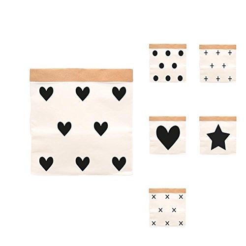 Paper-Bags zur Aufbewahrung von Spielzeug, Wäsche und weiteren Krimskrams - Beutel / Sack aus Papier - Papiertasche Motiv Herzchen - Klein