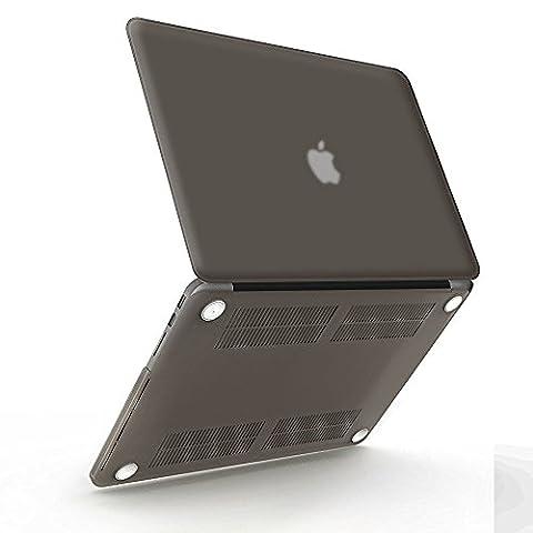 iBenzer - Soft-Skin-Serie Kunststoffabdeckung des schweren Kastens für Macbook Pro 15,4'' mit Retina Display (A1398) NO CD-ROM, Grau (Dunkle Banana)