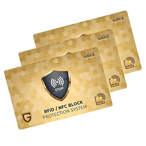 Carta Di Blocco GOODZ - Protezione RFID/NFC per Carta Di Credito, Portafoglio Uomo e Donna: RFID Blocking Protection per Porta Carte Di Credito, Bancomat e Documenti - Proteggi l'intero Portafoglio