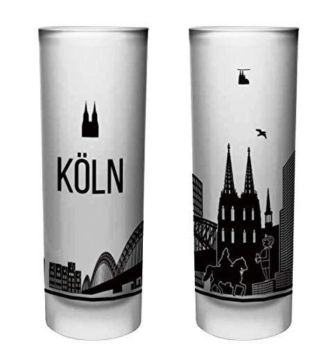 6 Köln-geschenk-set (Köln Schnapsgläser   6er Set   Gläser mit Gravur von der Kölner Skyline   Pinnchen bzw. Shotgläser für z.B Obstler, Tequila und Wodka.   Glas 6,5cl   Spülmaschinenfest   MADE IN GERMANY)