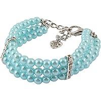 sourcing map Collar Correa S Azul Cielo Perlas Ornamento con Incrustaciones De Diamantes De Imitación Mascota Cachorro De Perro