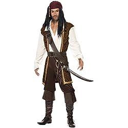 Disfraz para hombre de pirata de alta mar, marrón.