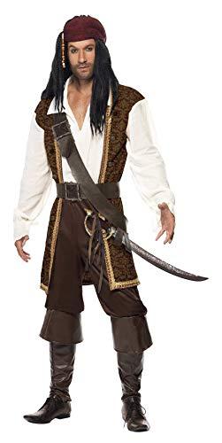 Das Piraten Kostüm - Smiffys 26224 Herren Hochsee-Pirat Kostüm, Oberteil, Kurze Hose, Bandelier, Gürtel und Kopftuch, L