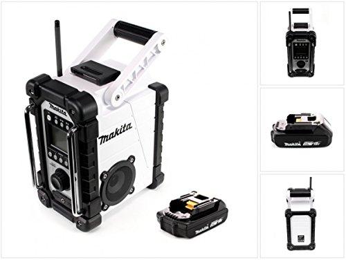 Preisvergleich Produktbild Makita DMR 107 W 7,2 - 18 V Akku Baustellen Radio Weiß + 1x BL 1820 18V - 2Ah Akku - ohne Ladegerät
