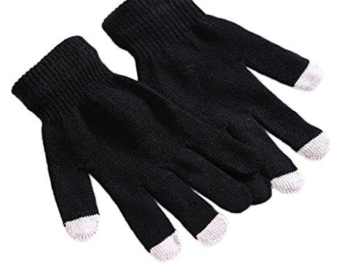 Smile YKK Gant Tactile Couple Gants Chauffant Tricot Hiver Uni Noir