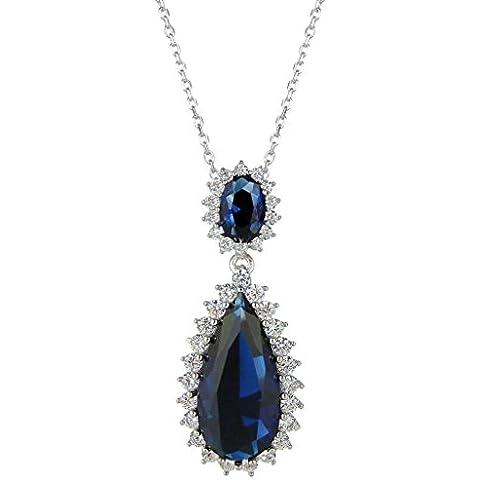 EleQueen Colore Sapphire Collana argento 925 zircone pendente a goccia nuziale placcato Rhodium