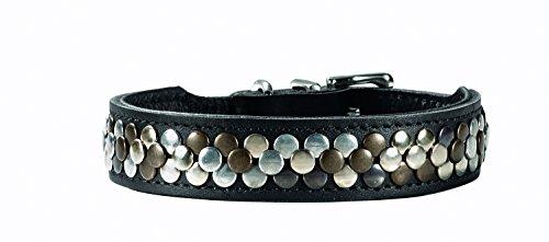 HUNTER ARIZONA Halsband für Hunde, Leder, mit Nietenbesatz, 60, schwarz
