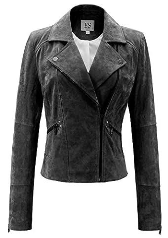 Escalier Damen Bikerjacke Lederjacke Schlank Motorrad Jacke Kurz Damenjacke Leder Mantel Übergangsjacke Schwarz XL