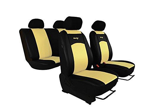 Autositzbezüge, Sitzbezüge Set passend für DACIA SANDERO, Super Qualität, DESIGN ECO-LEDER. In diesem Angebot BEIGE (In 7 Farben bei anderen Angeboten erhältlich) . Komplett besteht aus: Sitzbezügen + 5 Kopfstützen + Montagehäckchen.