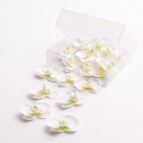 Künstliche Mini Orchideenblüten Phalaenopsis, weiß, 18 Stück in der Box - Kunstblüten - artplants