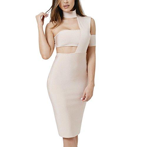 HLBandage Eine Schulter Halter Cut Out Damen Kunstseide Verband-Kleid(M,Beige) (Schulter-verband-kleid)