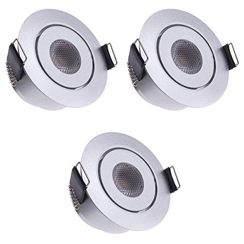 Sensati Kleine flache Miniatur LED Einbauleuchte flacher Downlight Spot Set zu 3 Stück, schwenkbar, dimmbar, 630 lm, inklusive Treiber, Gehäusefarbe silber, kaltweiß T096 3 CW S -