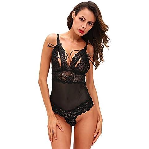 Nuevas señoras negro malla y encaje de Peek A Boo Teddy Bodysuit lencería trikini leotardo Teddies tamaño M UK 10–12EU