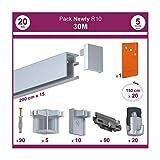 Newly R10 - Lote de 2 listones con raíl para colgar cuadros (longitud total 30 m, incluye accesorios de instalación)