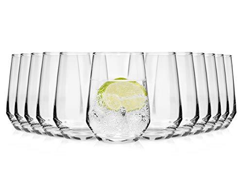 Bluespoon Trinkgläser Set 'Michelle' Aus Kristallglas 12 Teilig | Füllmenge 370 ml | Ideal Auch Als Cocktailglas Geeignet | Top Qualität Und Verarbeitung