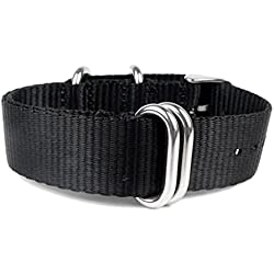 Minott Replacement Band Watch Band drawstring Textile Nato Strap black leather 20951, width:24mm