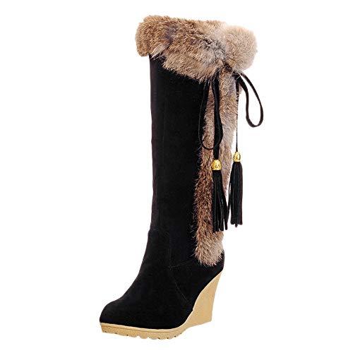 LCLrute 2018 NEUE Freizeit Quaste erhöhen Schuhe Round-Toe Warm halten lange Schlauchstiefel Winter Stiefel Stiefel Dicke Warme High Frauen Schuhe Große Größe ()