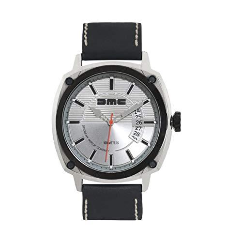 DMC DeLorean - Reloj de pulsera alfa para hombre   DeLorean Motor Company   Caja de acero inoxidable de 44 mm con bisel y corona IP negro   Resistente al agua y los arañazos de 100 m   Esfera plateada