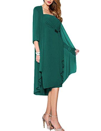 HUINI Brautmutter Kleider mit Jacke Wadenlang Chiffon Perlen Hochzeitskleid Abendkleid Ballkleid...