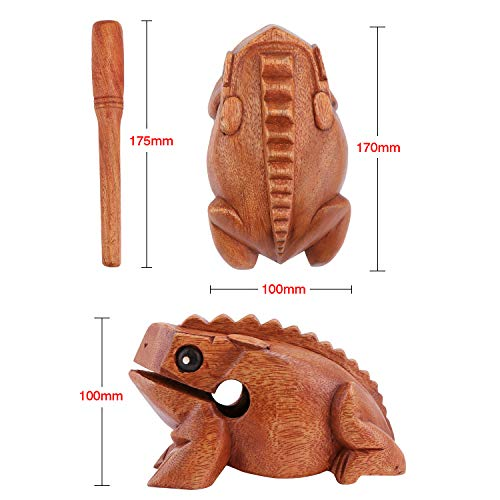Aussel Guiro Croaking Wooden Frog with Mallet, Musical Instrument Sound Block, Fair Trade Percussion Instrument, 6.7-inch